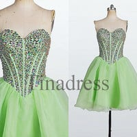 Custom Lime green Crystals Short Prom Dresses Evening Dresses Fashion Party Dresses Bridesmaid Dresses Cocktail Dress Homecoming Dresses