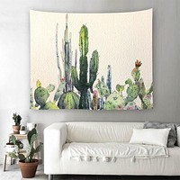 Soothing Cactus Print Tapestry