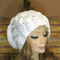 Hand Knit, Slouchy Beanie, Cable Hat, Women Men Slouchy Beanie, Knit Hat, Chunky Knit, Winter Fall Accessories, Slouchy, Knitted White
