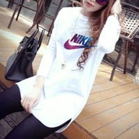 """Nike"" Women Simple Fashion Galaxy Letter Print Long Sleeve T-shirt Irregular Middle Long Section Bottoming Tops"
