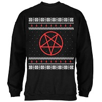Satanic Pentagram Ugly Christmas Sweater Black Adult Sweatshirt
