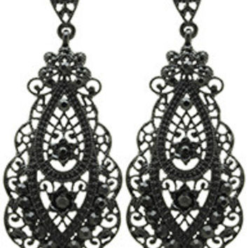 Our Black Metal Lace Dangle Stud Earrings