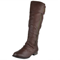Womens Knee High Boots Belted Back Studded Accent Casual Dress Shoes Brown SZ