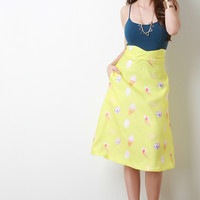 Ice Cream Treat Print A-Line Midi Skirt