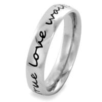 Stainless Steel 'True Love Waits' Cursive Script Ring (4.5 mm) - Size 7.0