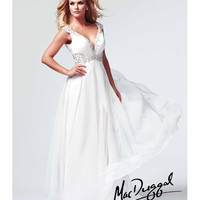 Mac Duggal - White Laser Cut Out Prom Gowns Prom 2015