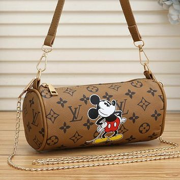 Samplefine2 Louis Vuiton Bag Pillow bag LV Mickey Mouse Long Bag Shoulder Bag Brown&Yellow
