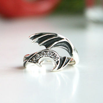 Wing of heart (ฺBlack) Silver Ring Sterling Ring .925 Silver Ring Personalized Ring