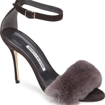 Manolo Blahnik Mincha Genuine Rabbit Fur Sandal (Women) | Nordstrom
