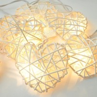 WHITE HEART RATTAN STRING PATIO,DECORATION,BEDROOM,HOME,TEEN ROOM,WEDDING LIGHT