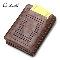 Men Wallet Genuine Leather Short Purse Casual And Solid Male Clutch Men's Wallet Multi function Card Holder With Coin