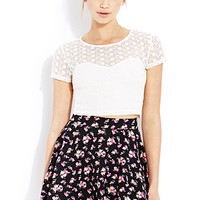 FOREVER 21 Stitched Floral Crop Top