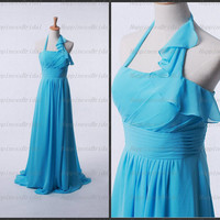 Custom A-line Halter Floor-length Chiffon Ruffles Blue Long Bridesmaid Dress Prom Dress Formal Evening Dress Party Dress Cocktail Dress 2013