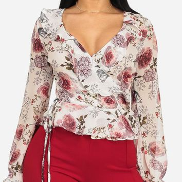 Ivory Wrap Front Lightweight Top