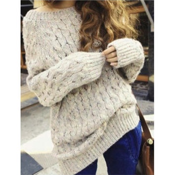 Retro Fashion Women Loose Sweaters Top