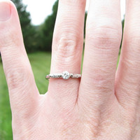 Elegant Art Deco Diamond Engagement Ring - Fiery Old Transitional Cut with Baguette Diamonds