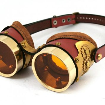 STEAMPUNK GOGGLES made of solid brass rusty brown leather gear | mann_and_co - Accessories on ArtFire