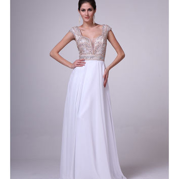 White & Gold Cap Sleeve Empire Waist Gown 2015 Prom Dresses