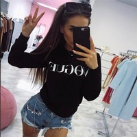 2017 Women's new letter printing long-sleeved round neck fashion [498263064622]