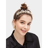 Faux Pearl & Bead Decor Metal Headband