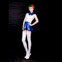 White And Blue Shiny Metallic Catsuit Masquerade Costume With Dress - $38.99