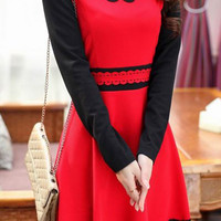 Red Lace-Paneled Long Sleeve Skater Dress