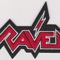 Raven Iron-On Patch Red Letters Logo