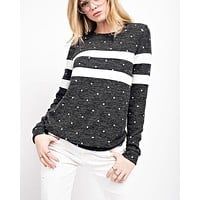 Final Sale - Another Day Polka Dot Knit Top - Charcoal