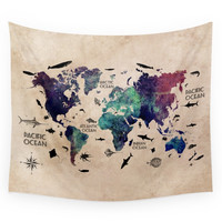Society6 Oceans Life World Map Wall Tapestry