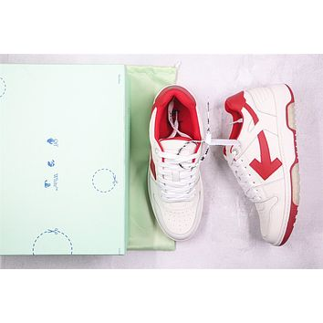 OW c/o Virgil Abloh Out Of Office Low-top Leather Red Sneakers Size 40-45