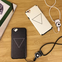 Black and white triangle couple mobile phone case for iPhone 7 7 plus iphone 6 6s 6plus 6s plus + Nice gift box!