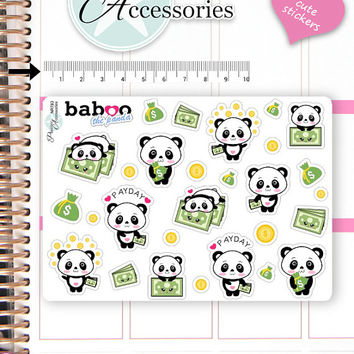 Kawaii PayDay Stickers Cute Baboo Panda Stickers Pay Day Stickers Planner Stickers Functional Stickers Decorative Stickers NR783