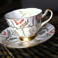 Antique Royal Chelsea red and gold gilt tea cup and saucer, English bone china tea set, wedding gift, floral with leaves