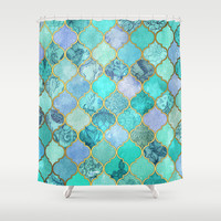 Cool Jade & Icy Mint Decorative Moroccan Tile Pattern Shower Curtain by Micklyn