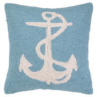 Anchor 18x18 Wool Pillow, Blue, Decorative Pillows