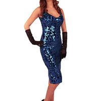 Blue Sequin Party Dress-Bettie Page Dresses #sequindress #bluepartydress #vintagestyledress #cocktaildress #wiggledress