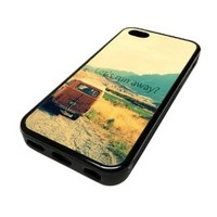 Apple Iphone 5 or 5s Case Cover Van Run Away Quote Hipster Design Black Rubber Silicone Teen Gift Vintage Hipster Fashion Design Art Print Cell Phone Accessories