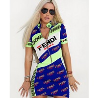 Fendi Summer New Fashion More Letter Print Contrast Color Shorts Sleeve Dress Women Blue