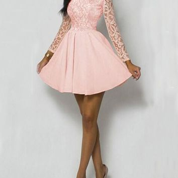New Pink Lace Pleated High Waisted Tutu Long Sleeve Sweet Homecoming Party Mini Dress