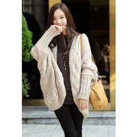 Beige Cable Knit Long Sleeves Open Front Cardigan