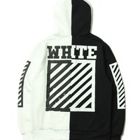 OFF WHITE Winter Patchwork Stripes Hats Hoodies Jacket [11501028428]