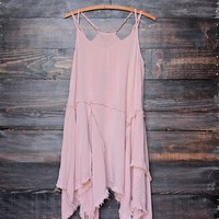 sedona desert tattered up slip dress in dusty pink