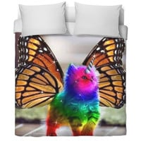 rainbow unicorn butterfly cat duvet