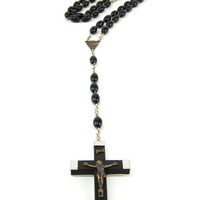 Black Rosary Necklace