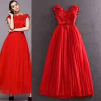 Red Off Shoulder Floral Embroidered Bow Empire Waist Maxi Dress