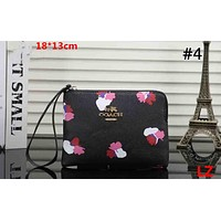 COACH Tide brand female retro short floral print clutch zip coin purse #4