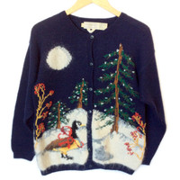 Vintage 90s Winter Woodland Scene Tacky Ugly Christmas Sweater