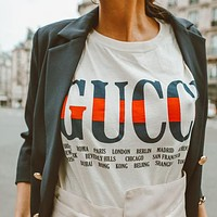 GUCCI new fashion men's and women's printed short-sleeved T-shirt