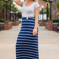 Different Stripes Of Love Maxi Dress, Navy