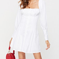 Women's white dress single-breasted long-sleeved Korean autumn temperament oblique shoulder waist skirt